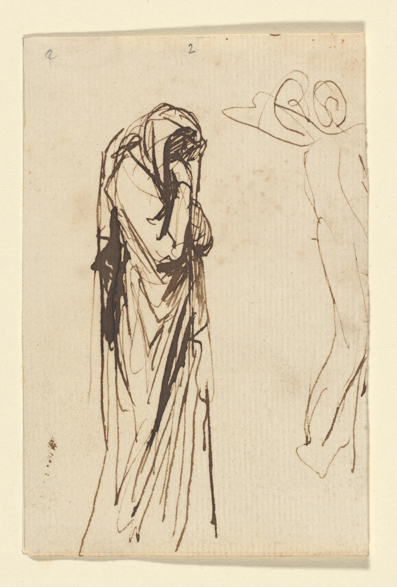 Study of hooded figure with hands to face