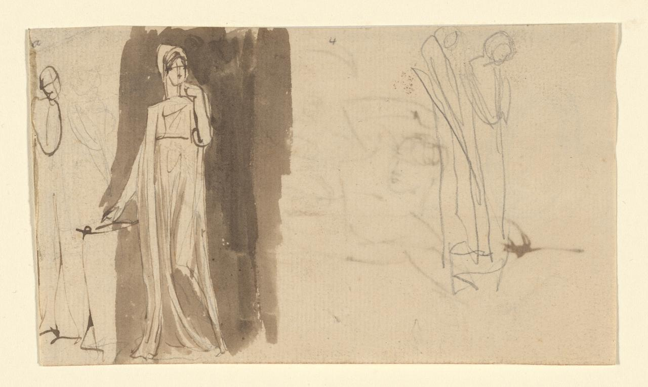Standing draped woman, with other sketches