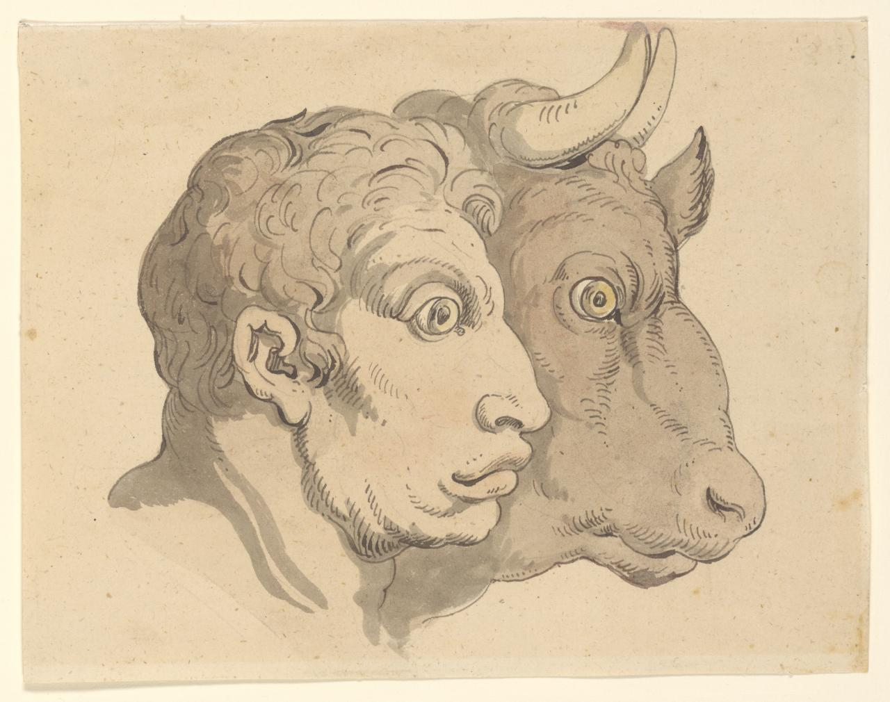 Grotesque heads (Human head and bull's head)