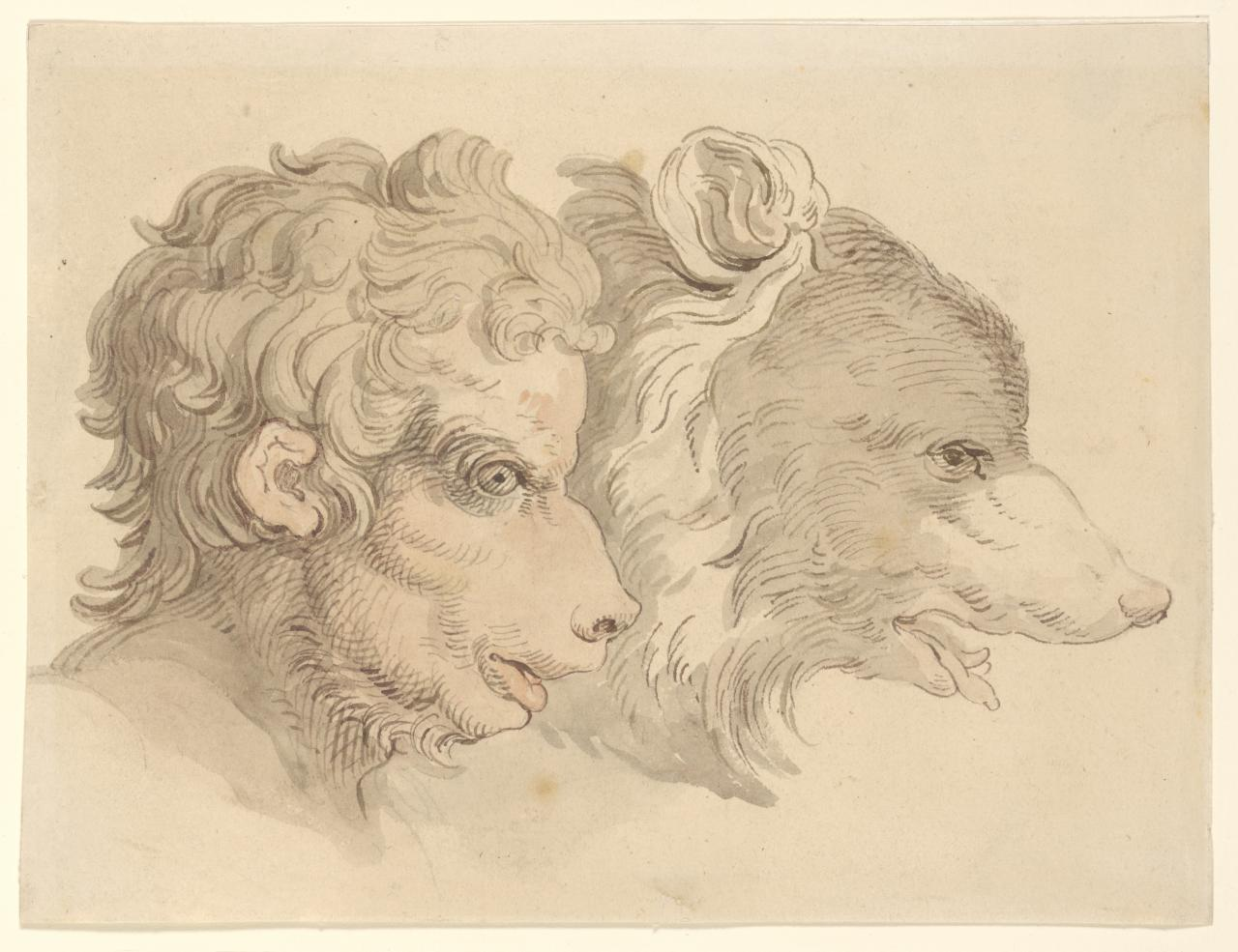 Grotesque heads (Human head and wolf's head)