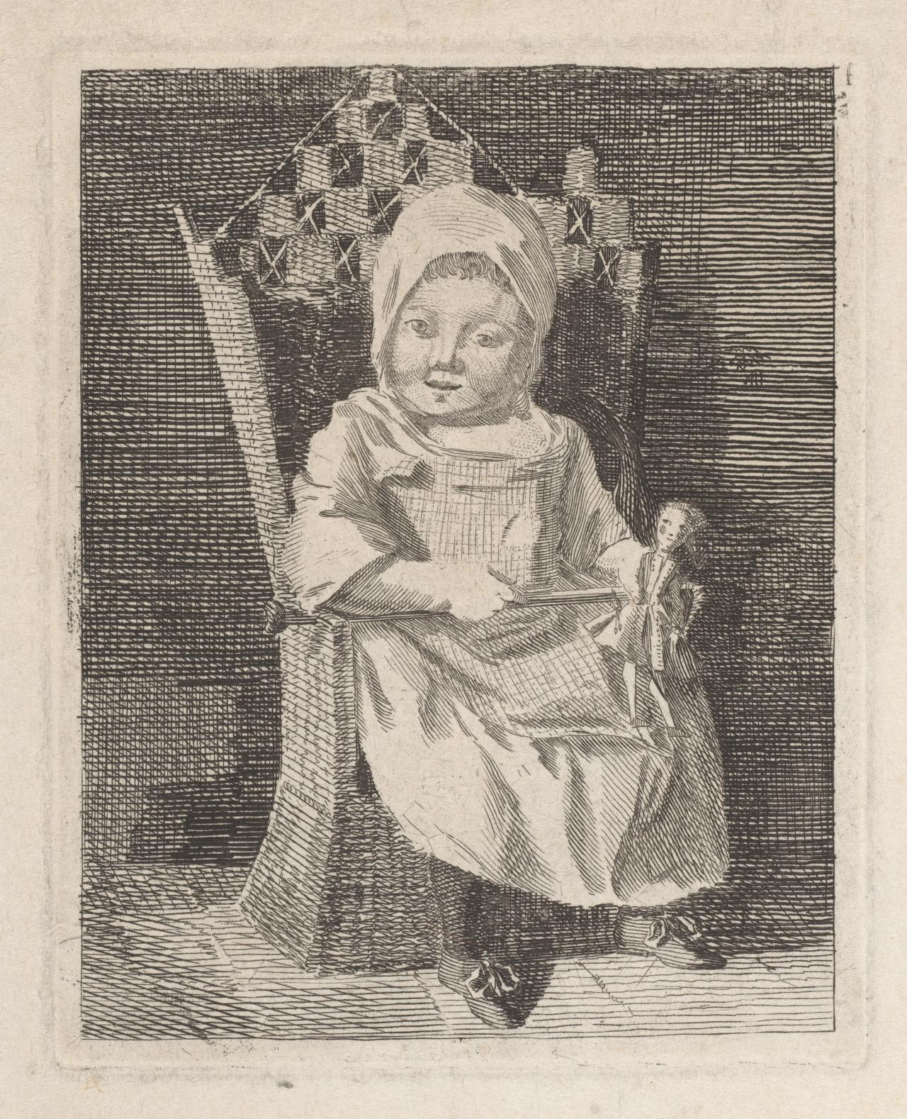 Seated child with doll