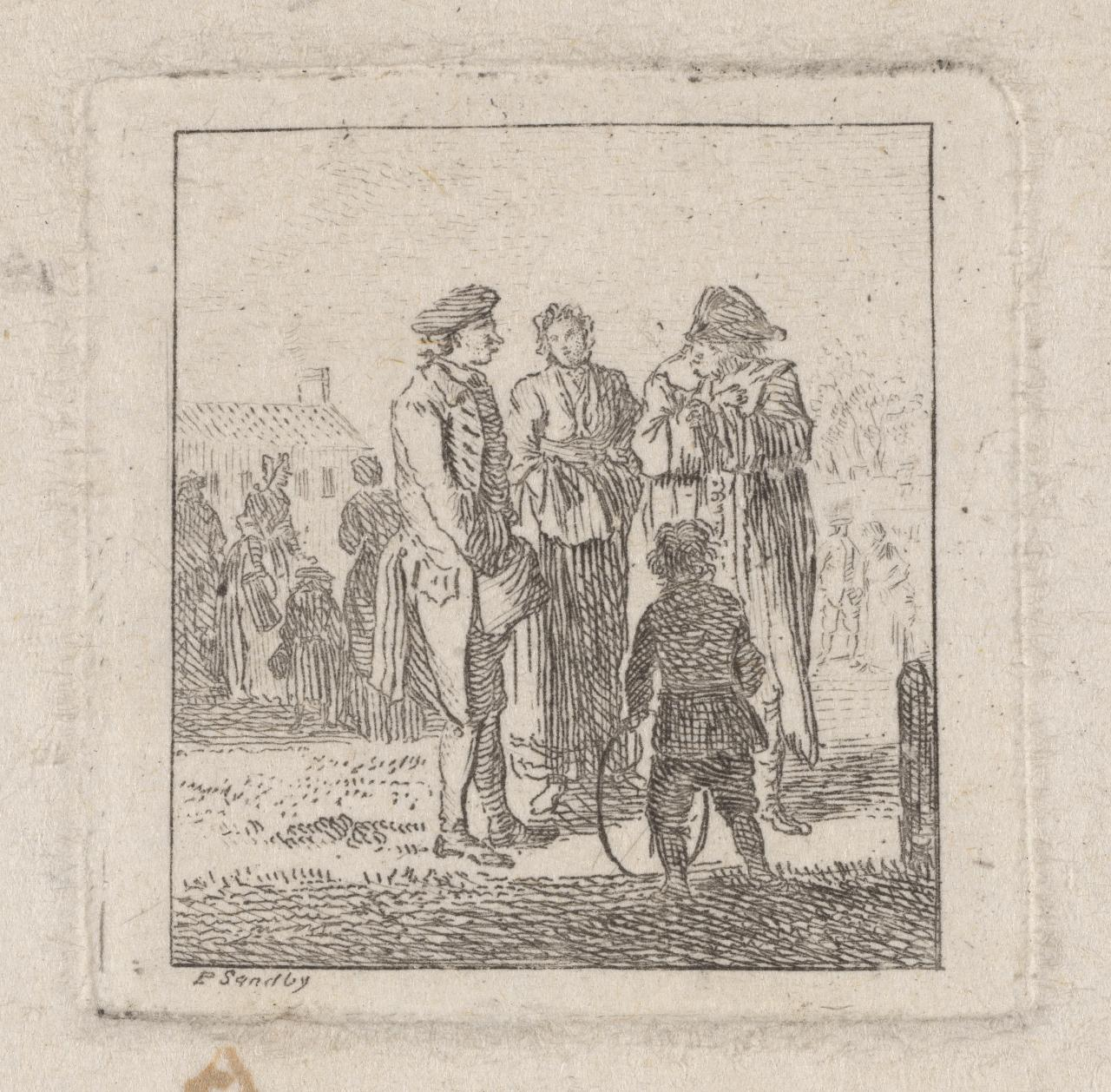 Group of three adults and a child with a hoop