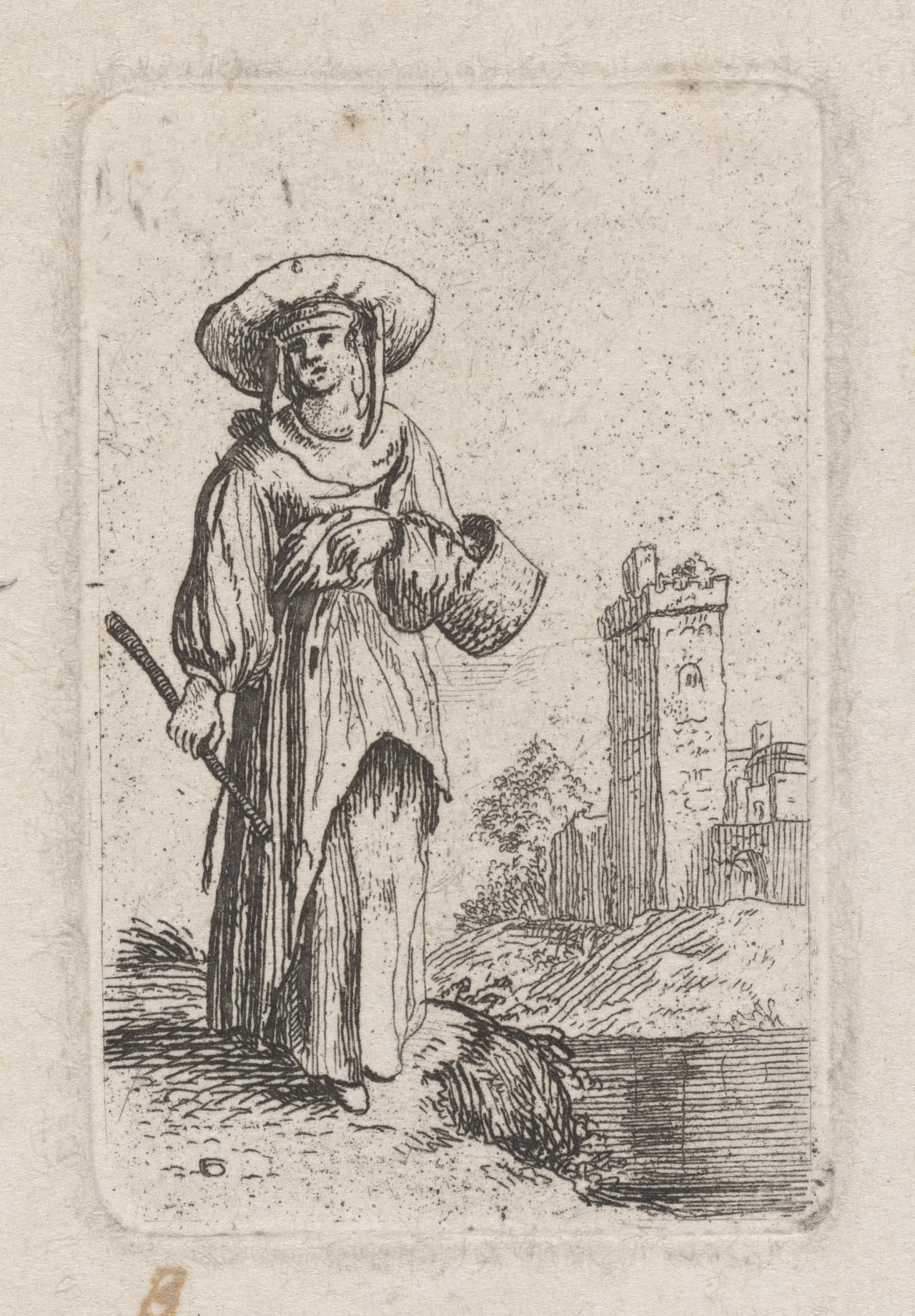 Woman walking with basket and stick beside a river