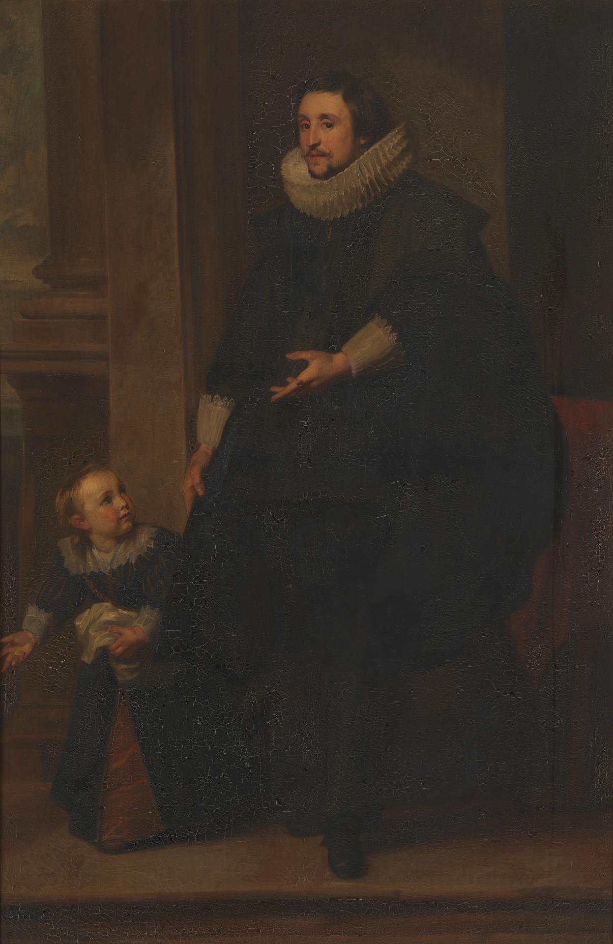 Portrait of a man of rank with his son