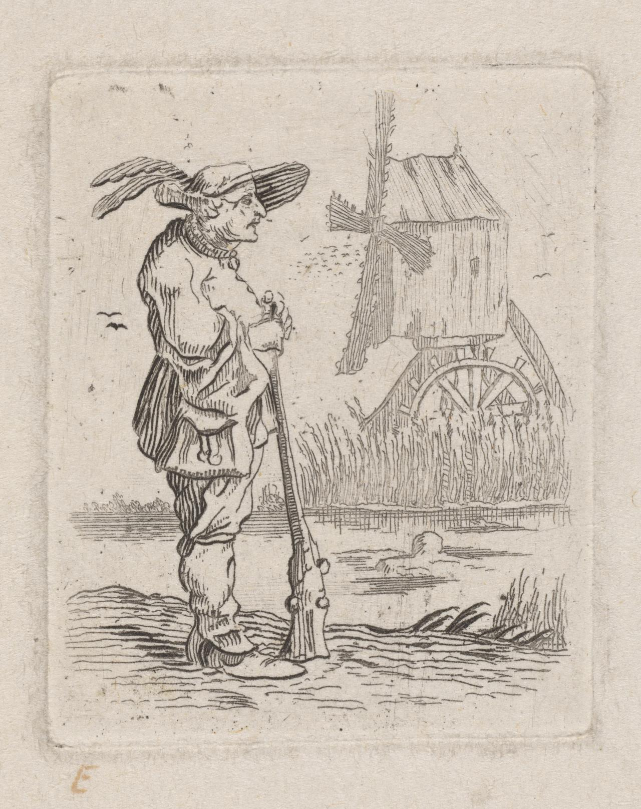 Man with shovel and dog