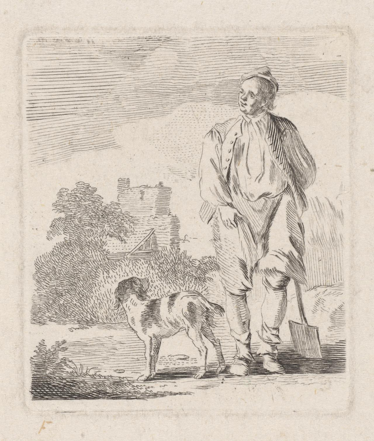 Man walking, carrying his hat (Figures in the background)