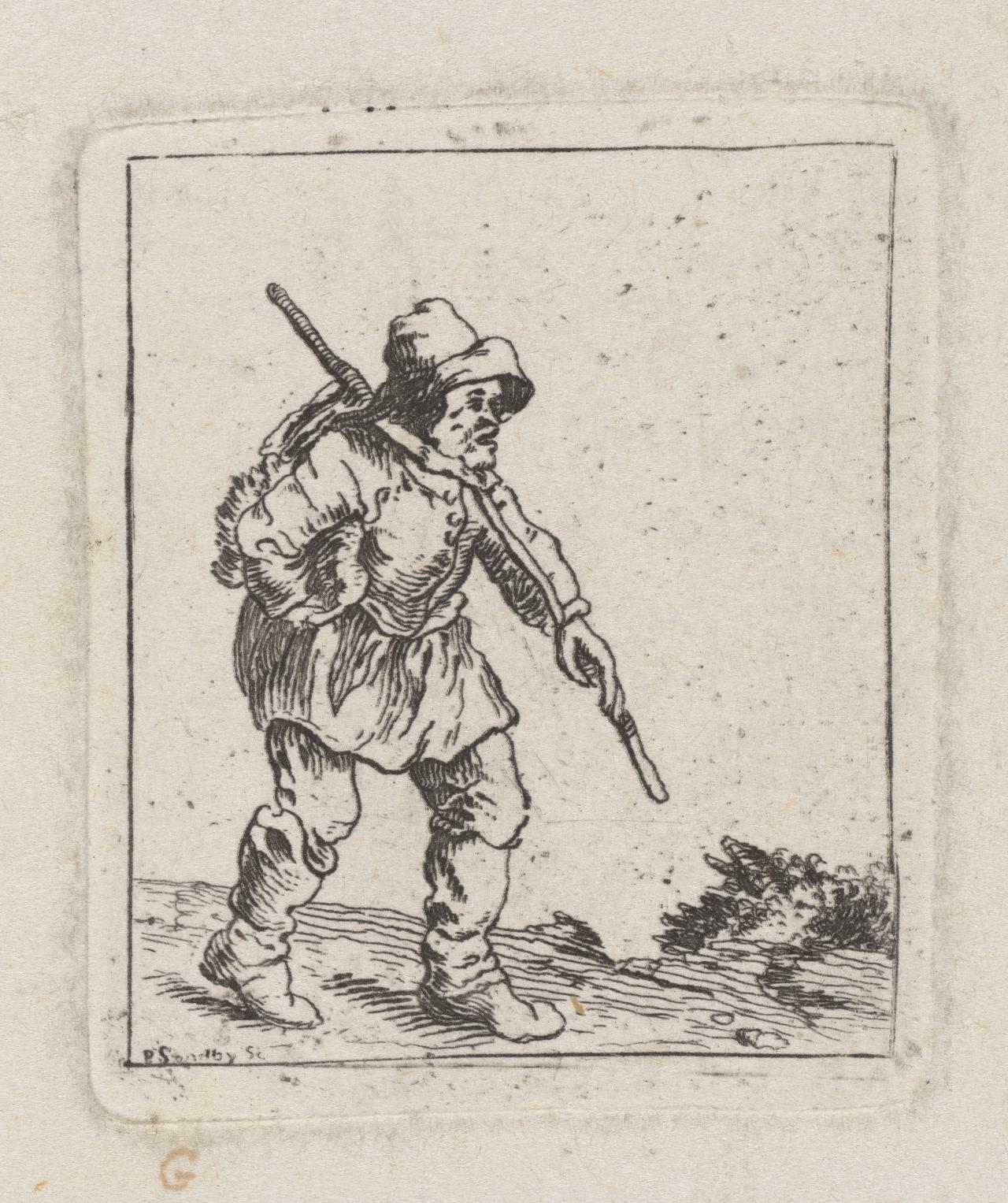 Hunched man carrying stick and bundle