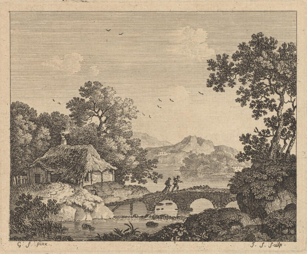 Untitled (Two figures on arched stone bridge, cottage and lake)