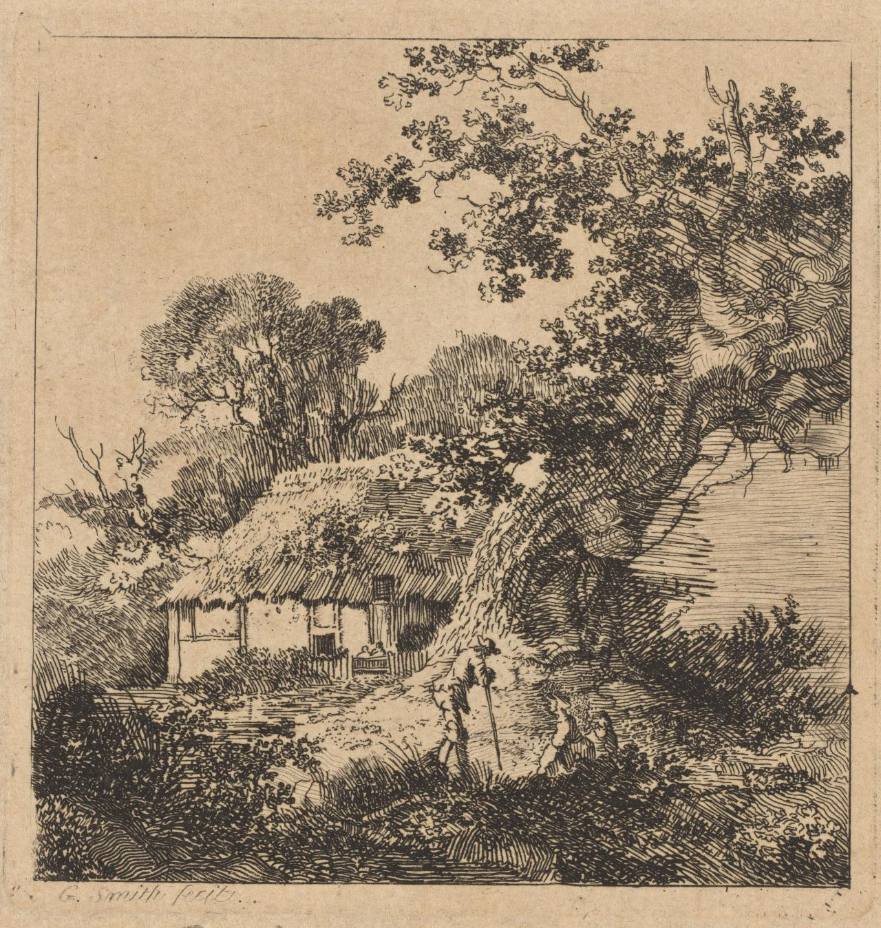 Untitled (Gnarlled tree, cottage and stooped figure)