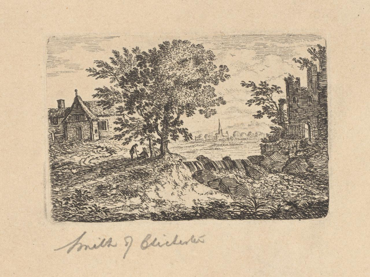 Untitled (Two figures under tree, waterfall, castle ruins)