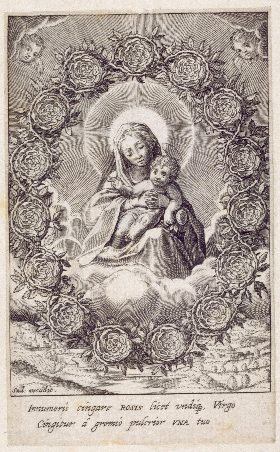 The Virgin and the Child in the Clouds within a Garland of Roses.