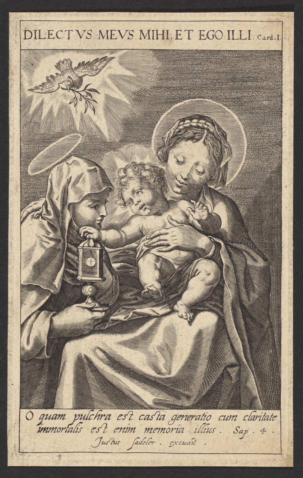 The Virgin and Child attended by a Female Saint who holds......