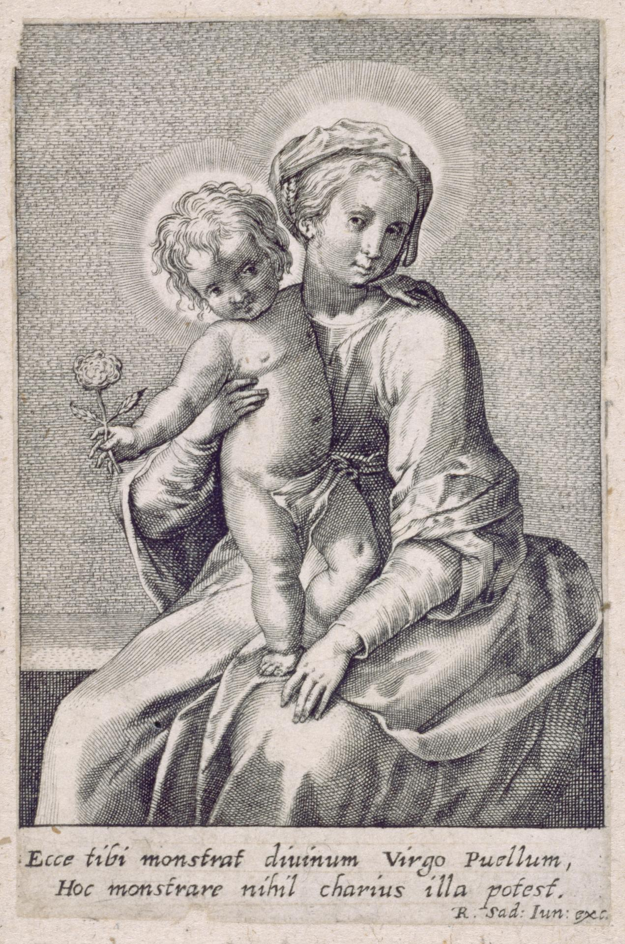 The Virgin and Child Holding a Flower with His Right Hand.