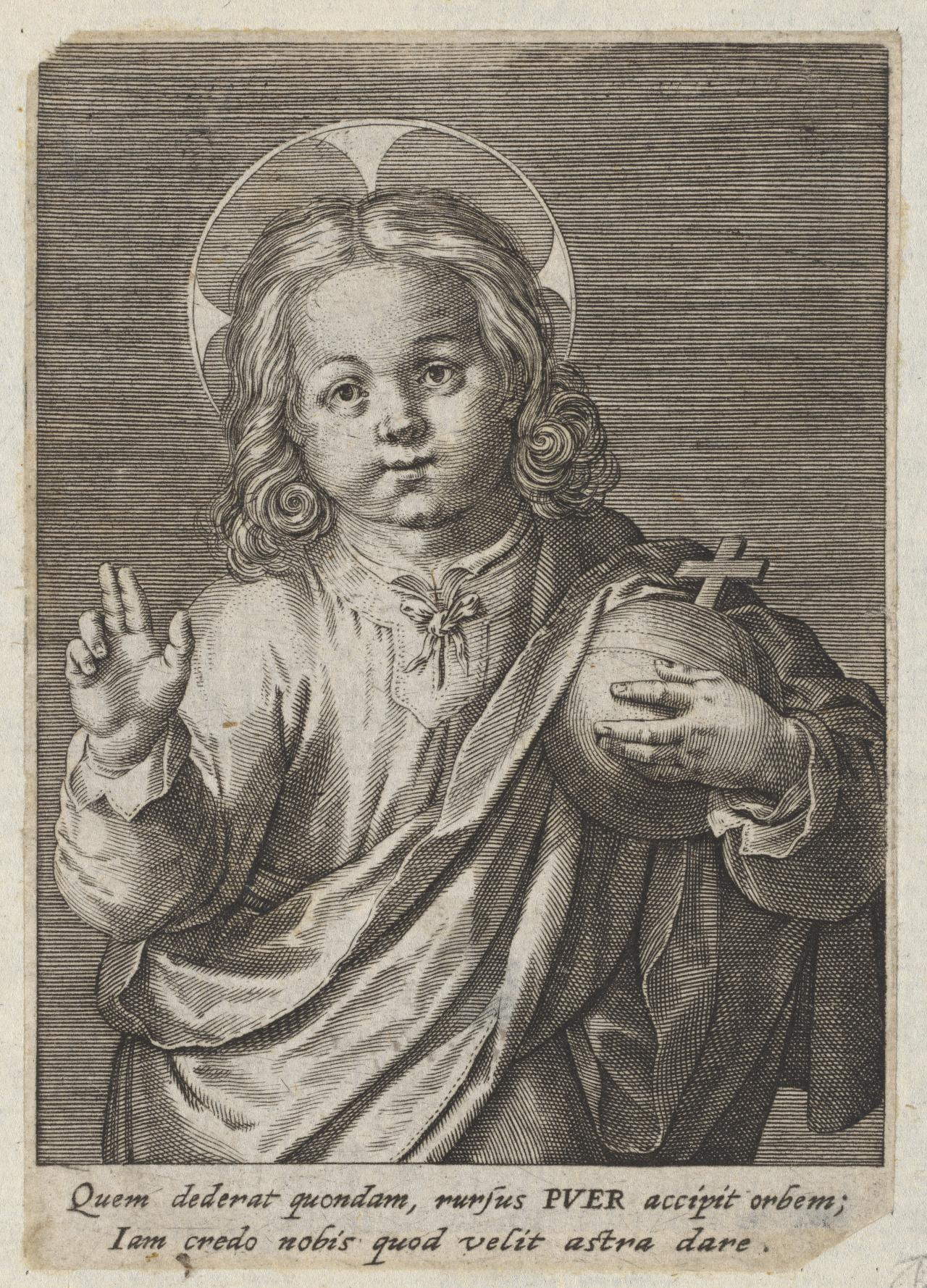 Christ Child Blessing, with an Orb in Proper Left Hand.