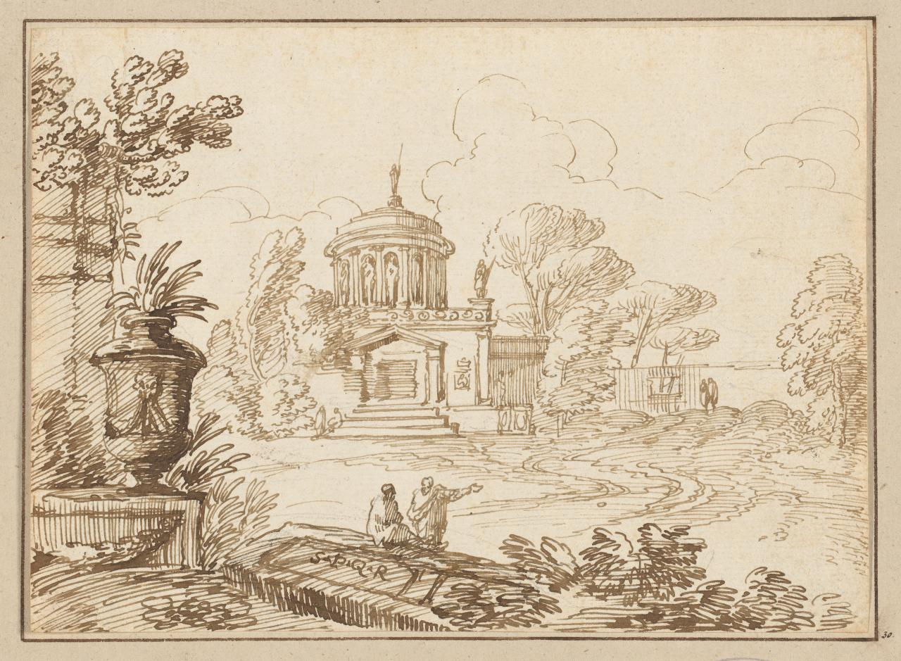 Landscape with classical architecture
