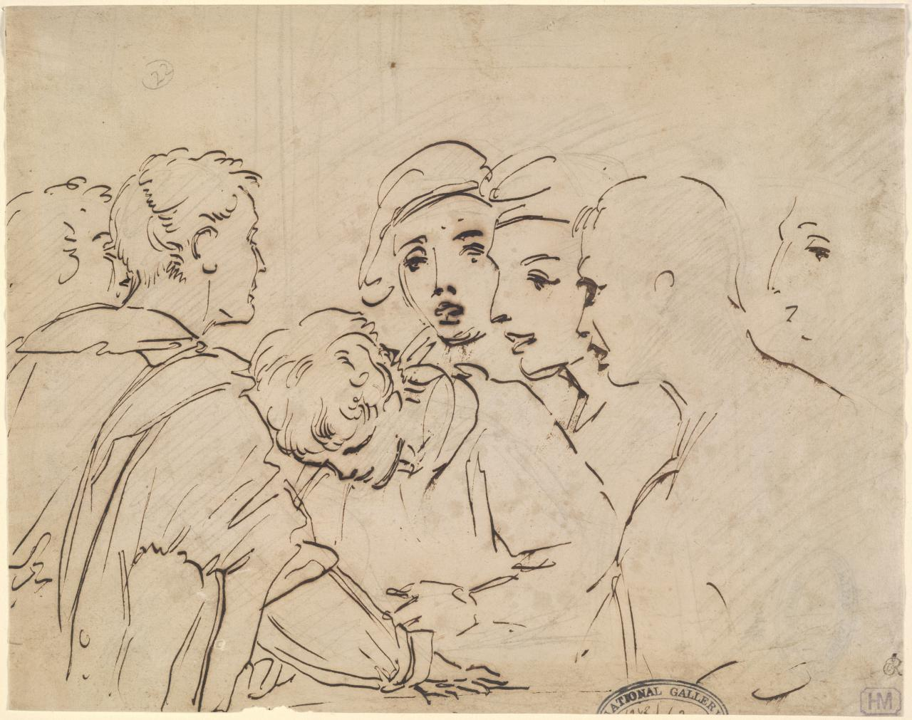 Sketch of boys playing cards