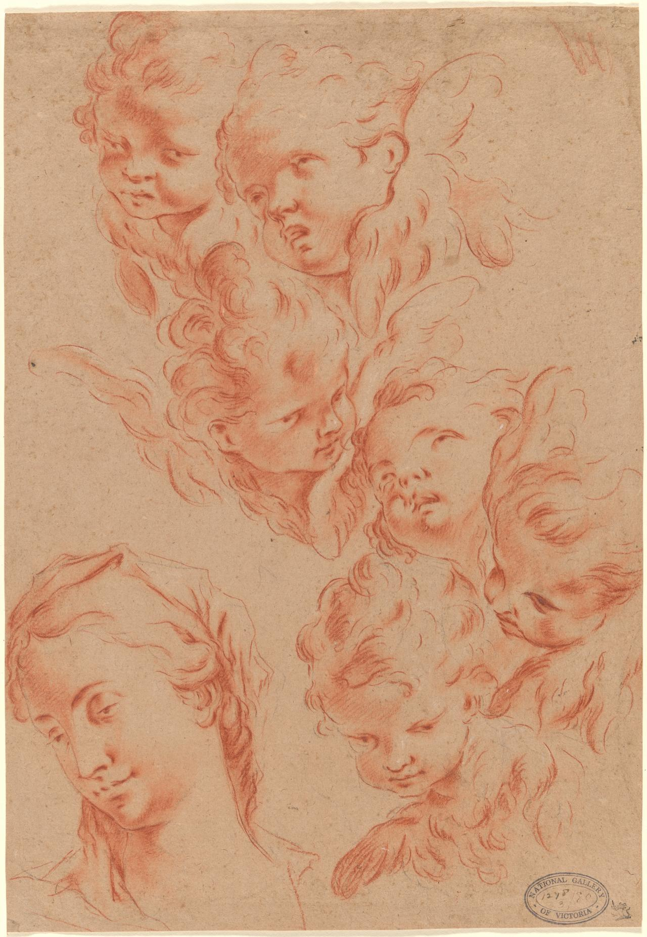 Studies for heads of the Madonna and angels