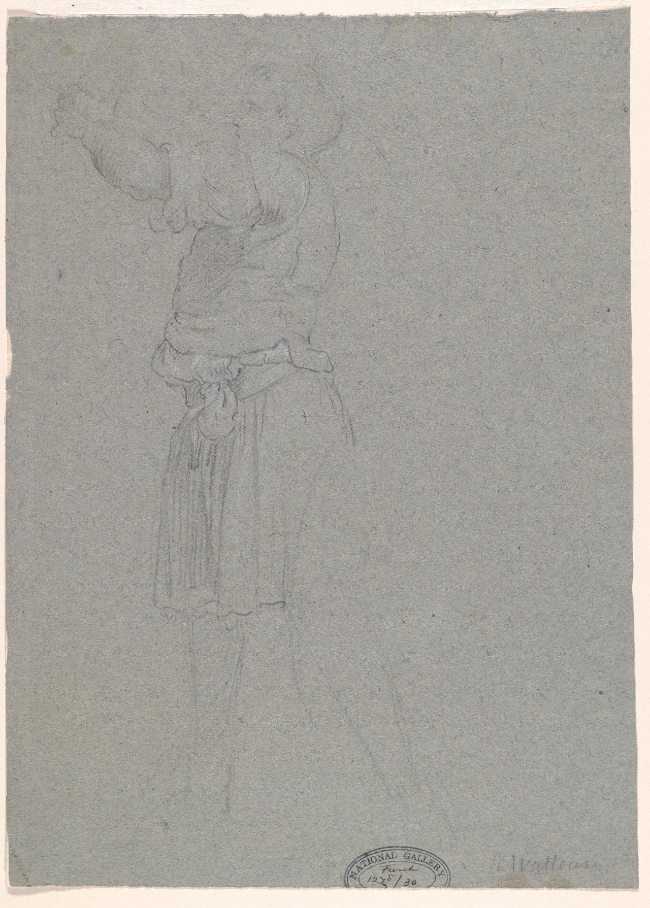 Sketch of a young man in tunic, reaching right