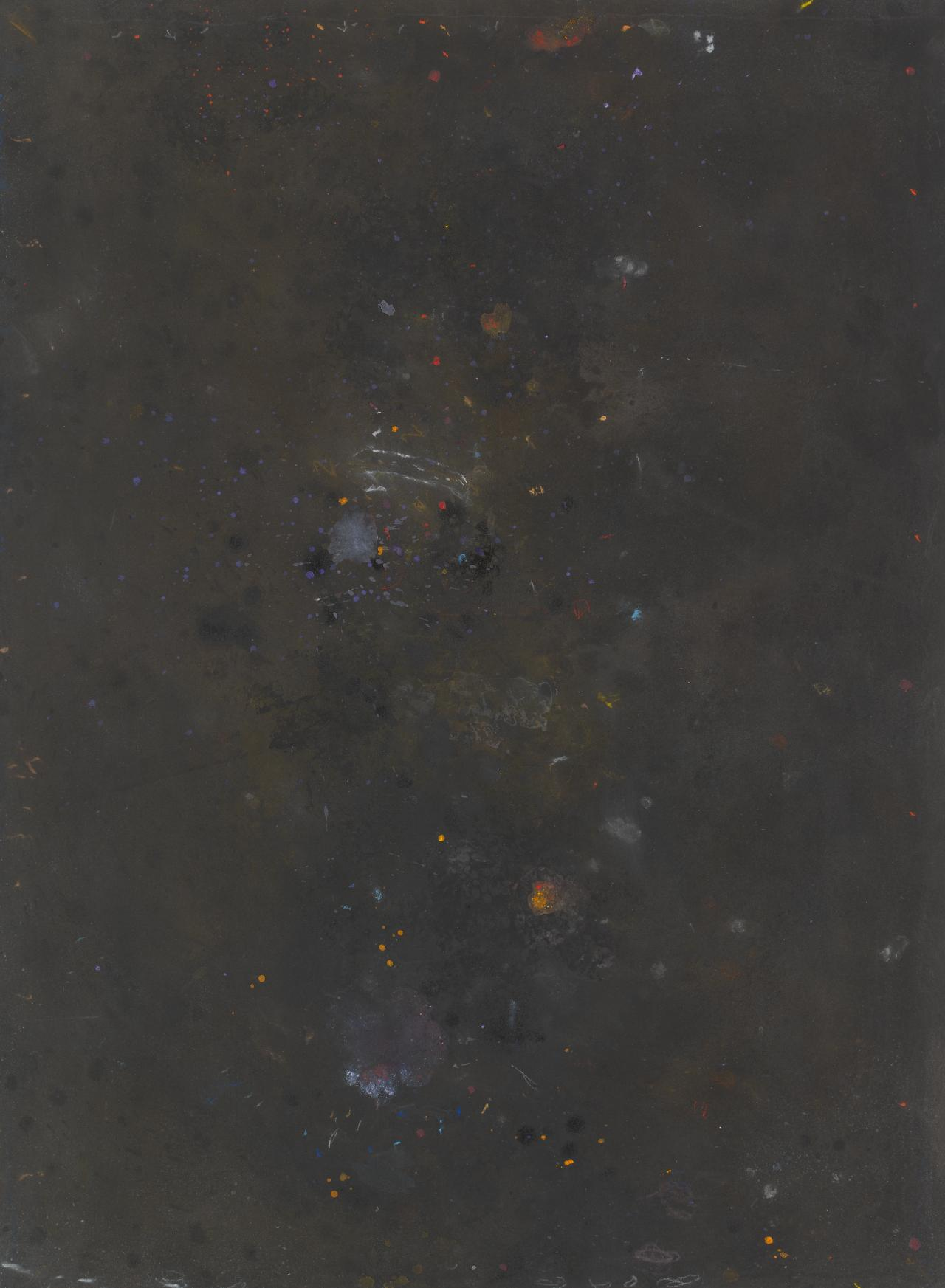 Untitled (speckled colours against black ground)