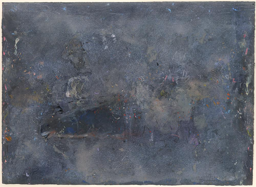 Untitled (Milky washes over black ground)