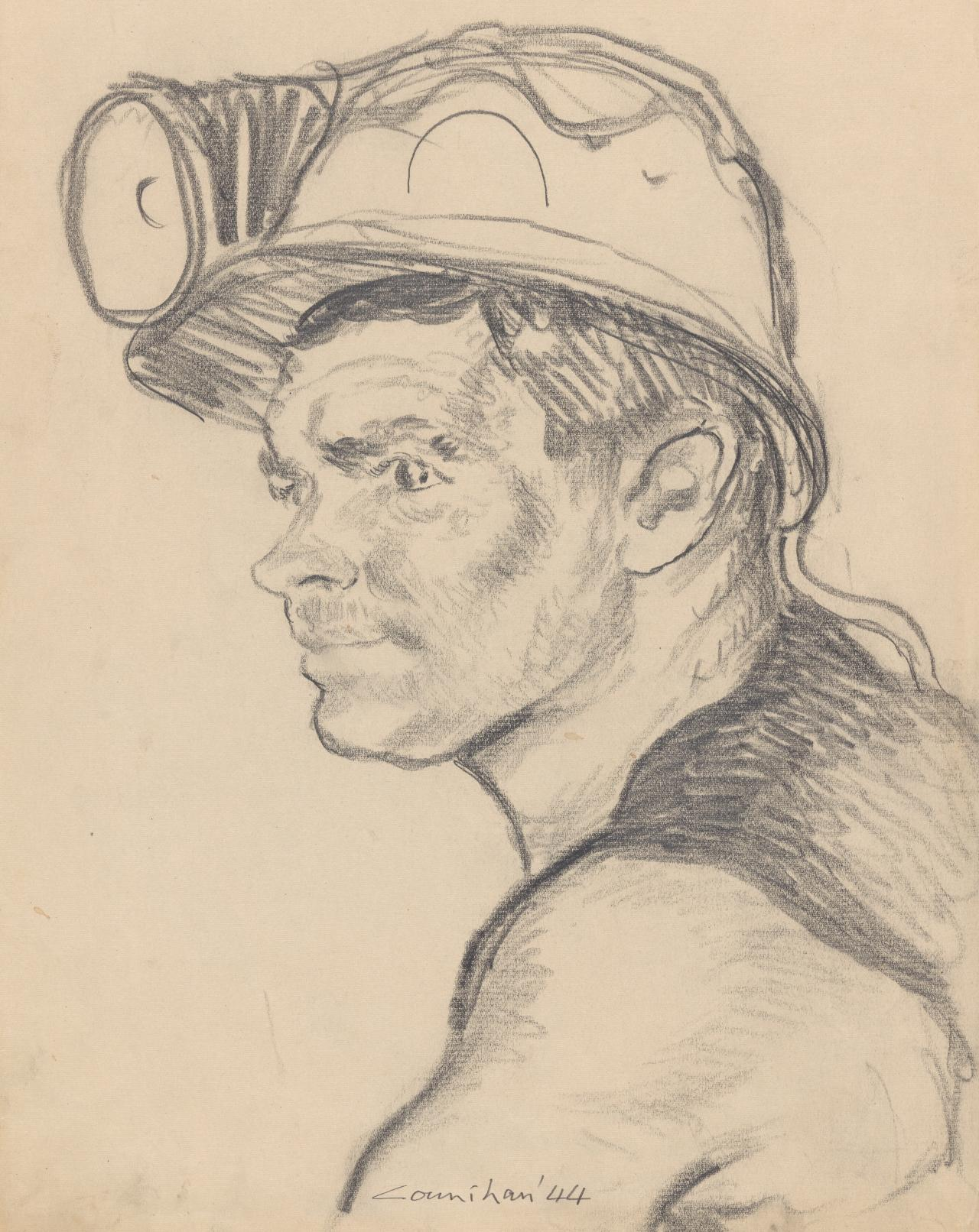 Preparatory study for the linocut The young wheeler