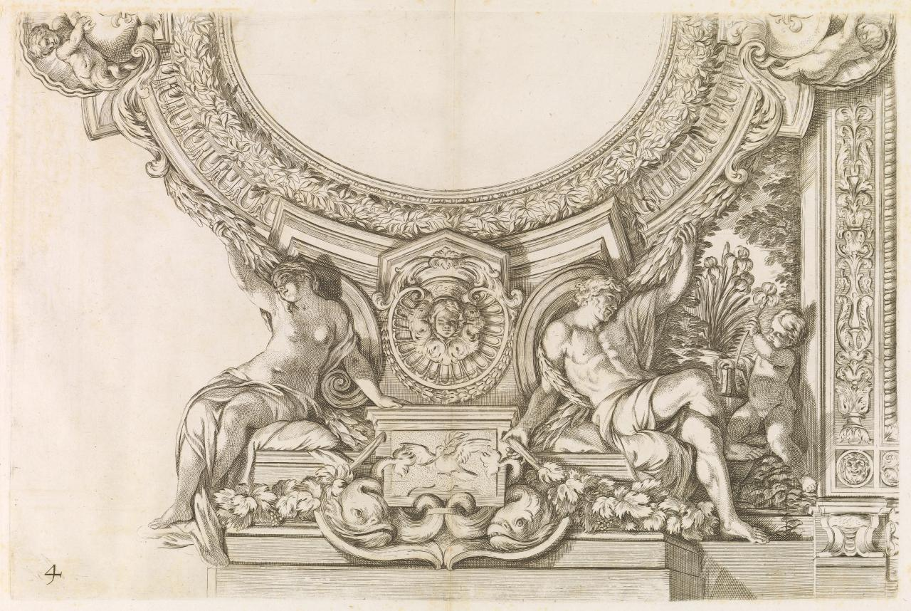 Composition with stucco ornaments of a woman, man and a child