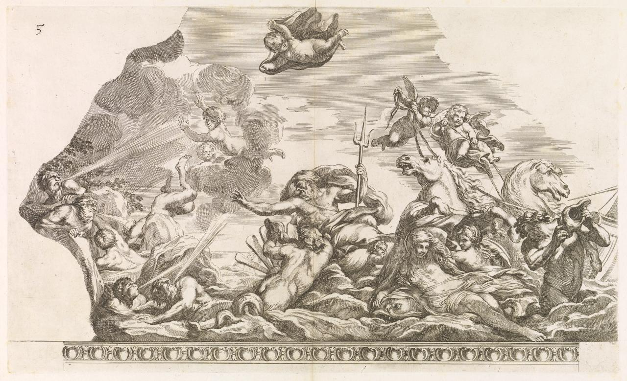 Neptune subduing the storm created by Aeolus to destroy the fleet of Aeneas