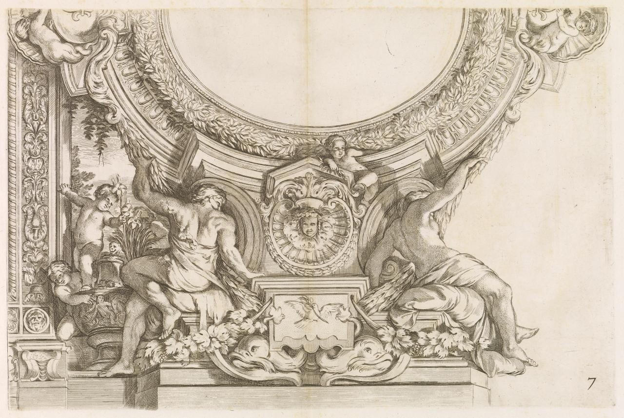 Composition with stucco ornaments of a man and a woman viewed from the rear