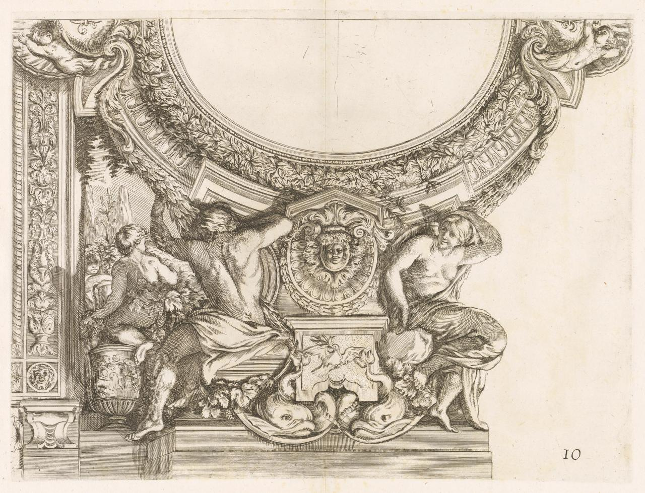 Composition with stucco ornaments of a man and a woman