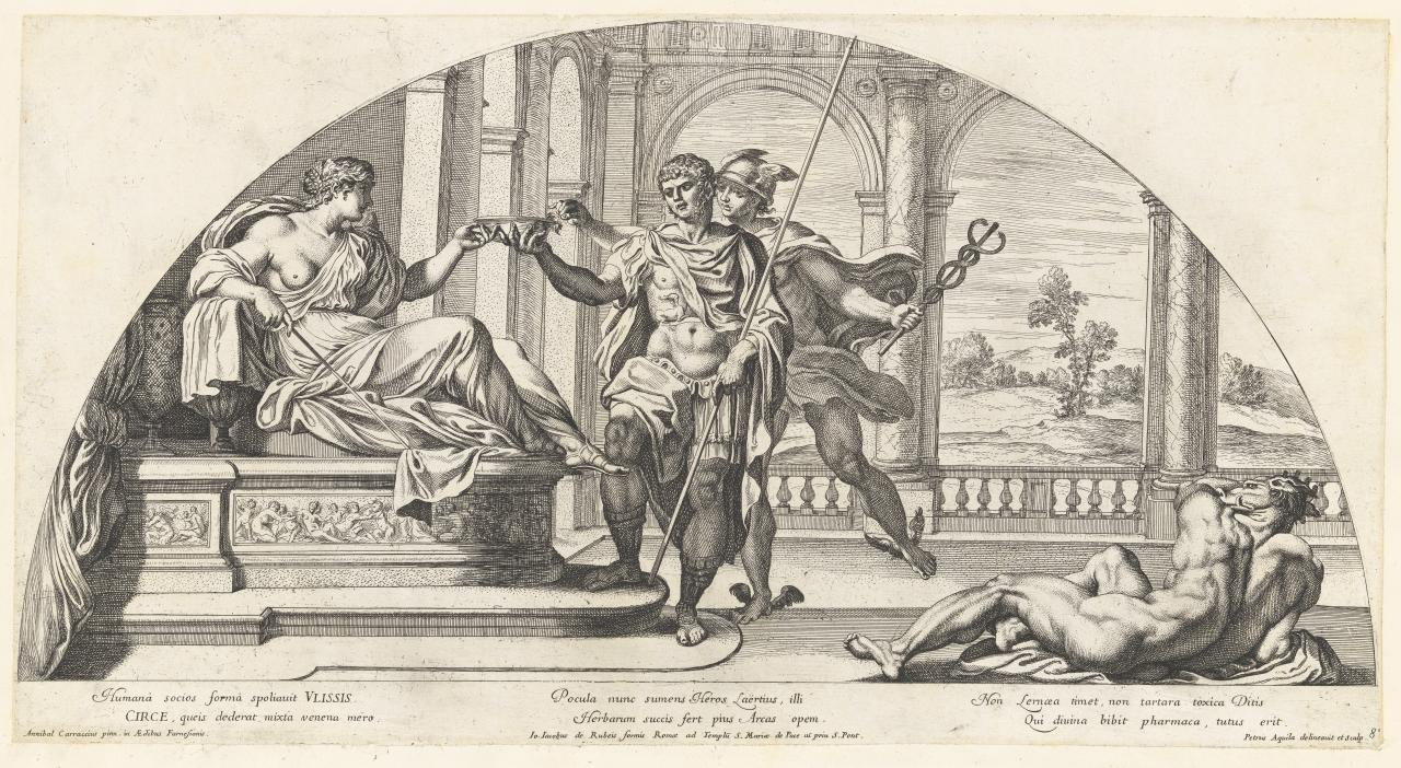 Circe and Ulysses with Mercury and a man transformed into a beast