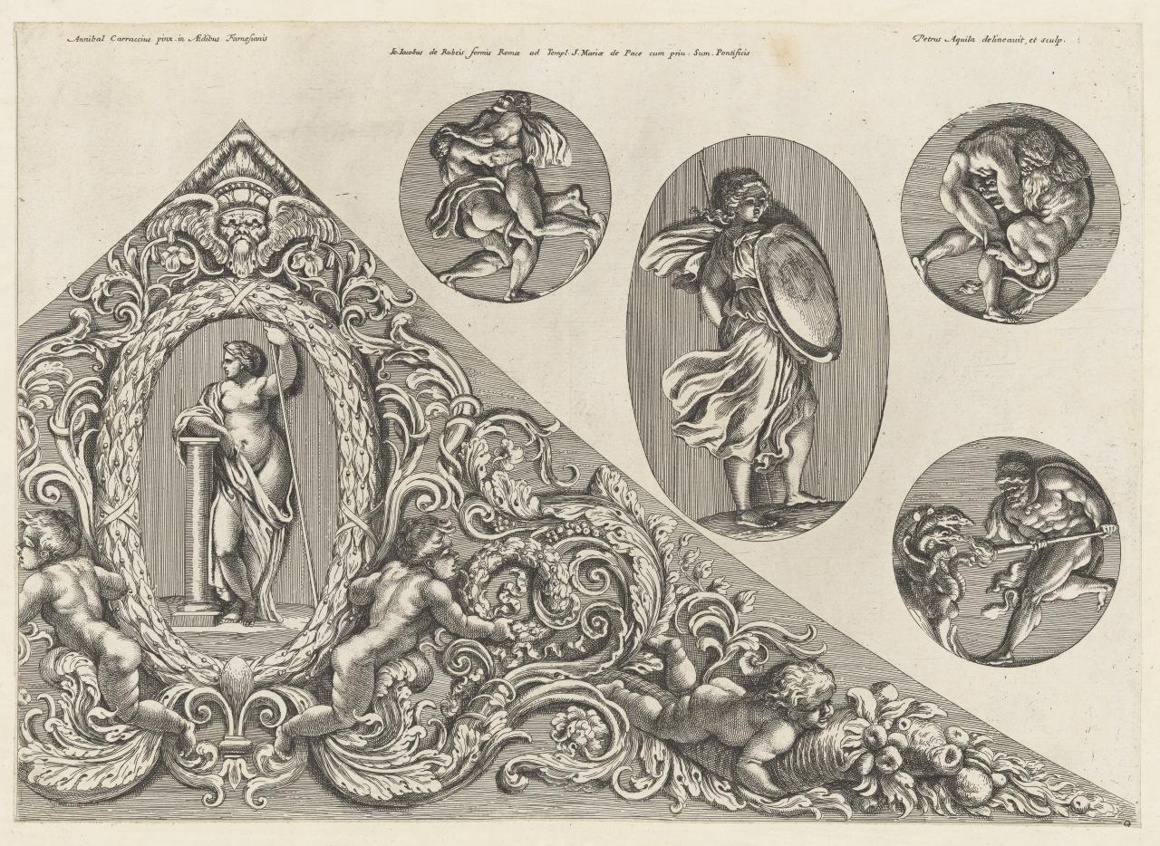 Five painted medallions imitating reliefs, ceiling decoration