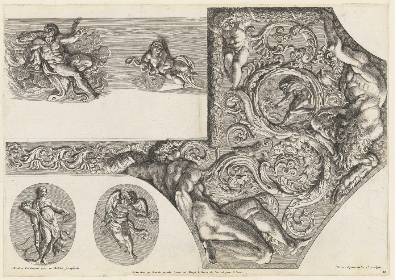 Two painted medallions imitating reliefs; ceiling decorations; ingudo, putto and satyr
