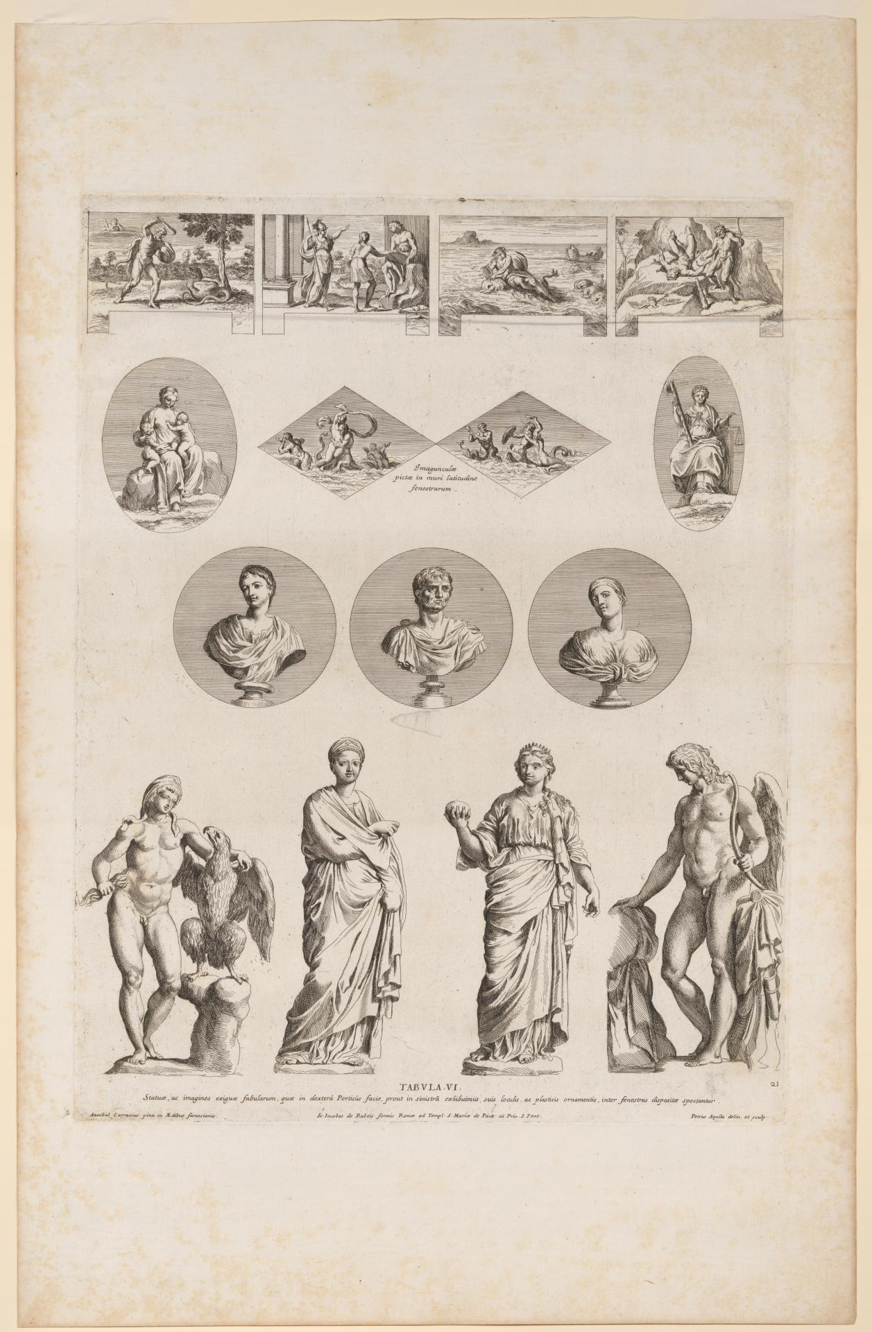 Panels and sculptures from the Farnese Gallery