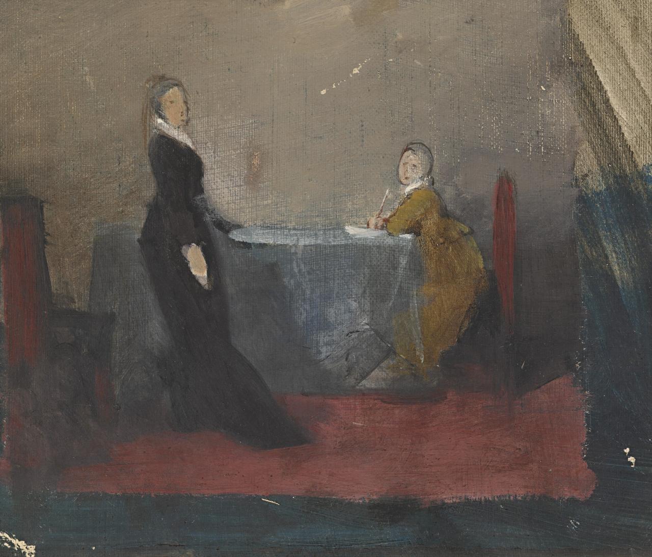 Study for picture of room and women figures