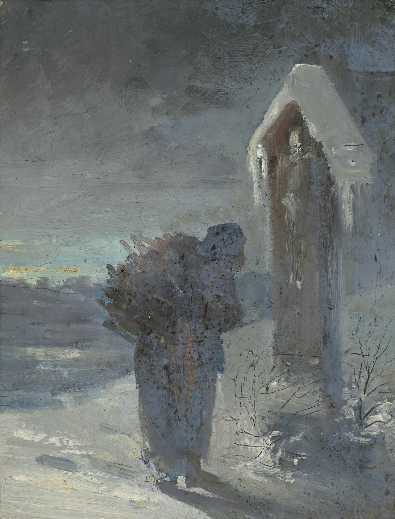 Study of a wayside cross with woman