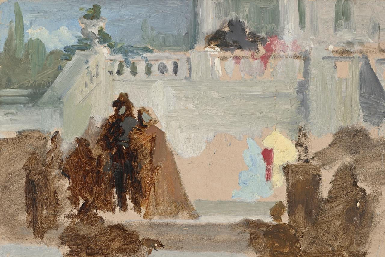 Study for picture of Italian balcony and figures
