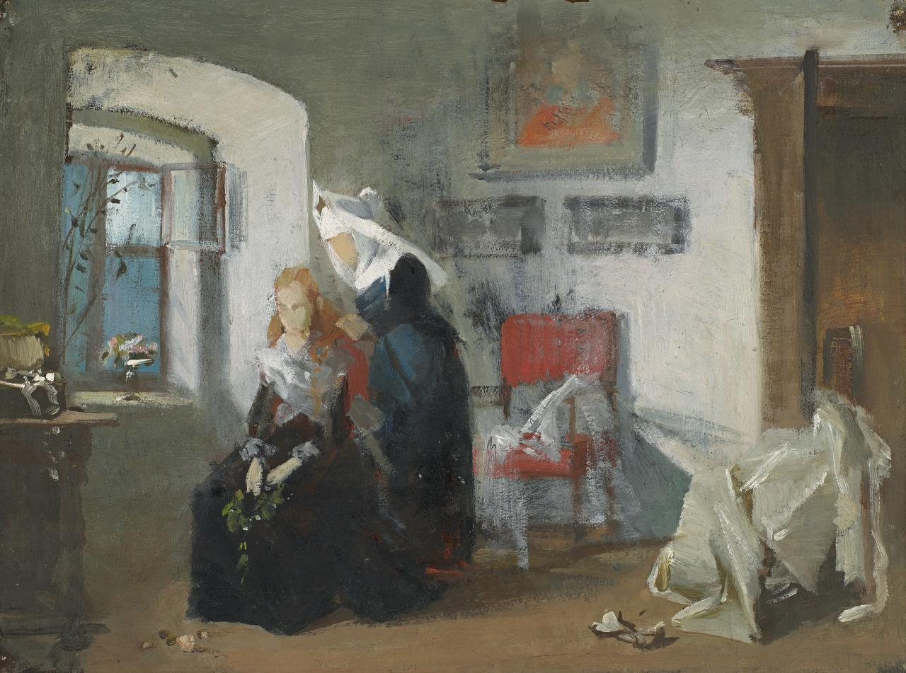 Study for picture: Interior with figures