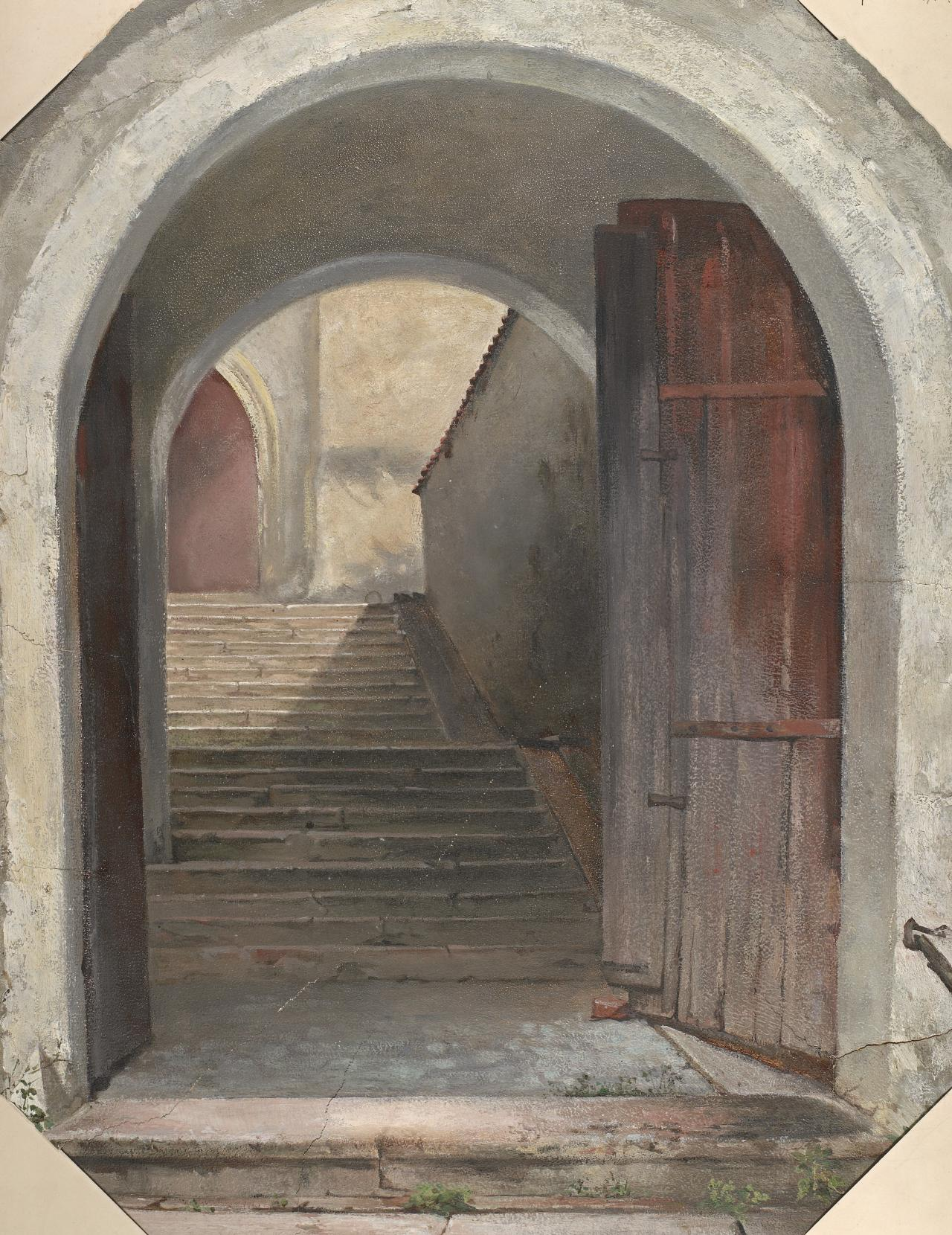 (Study of entrance to old castle, Hohenaschau)