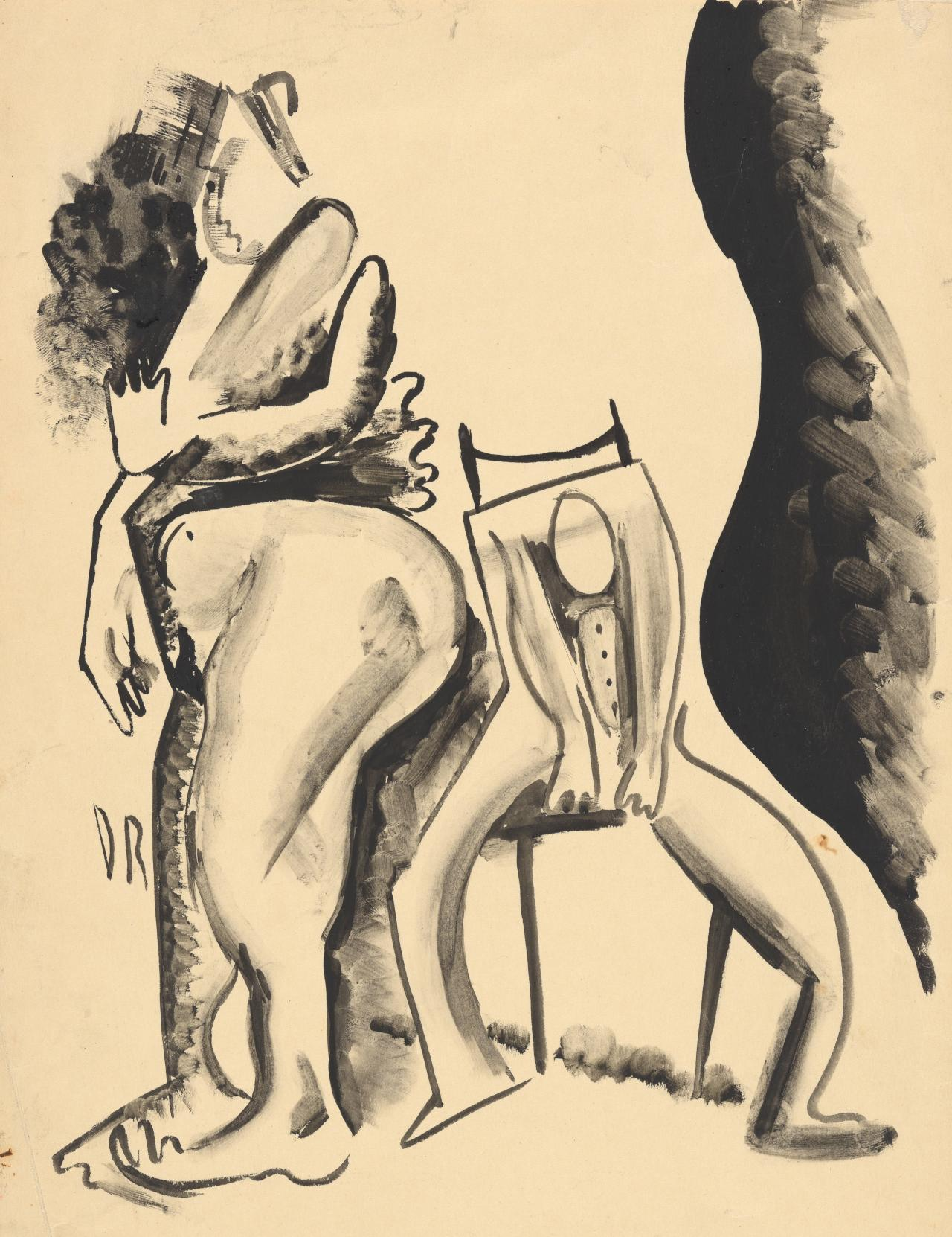 Untitled (Two figures, one steated)