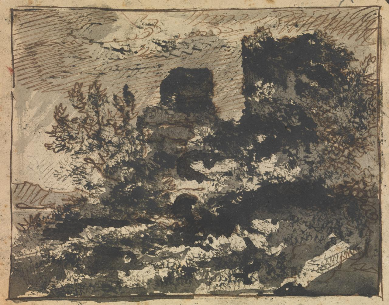 Untitled (Sketch of ruins on the edge of a lake)