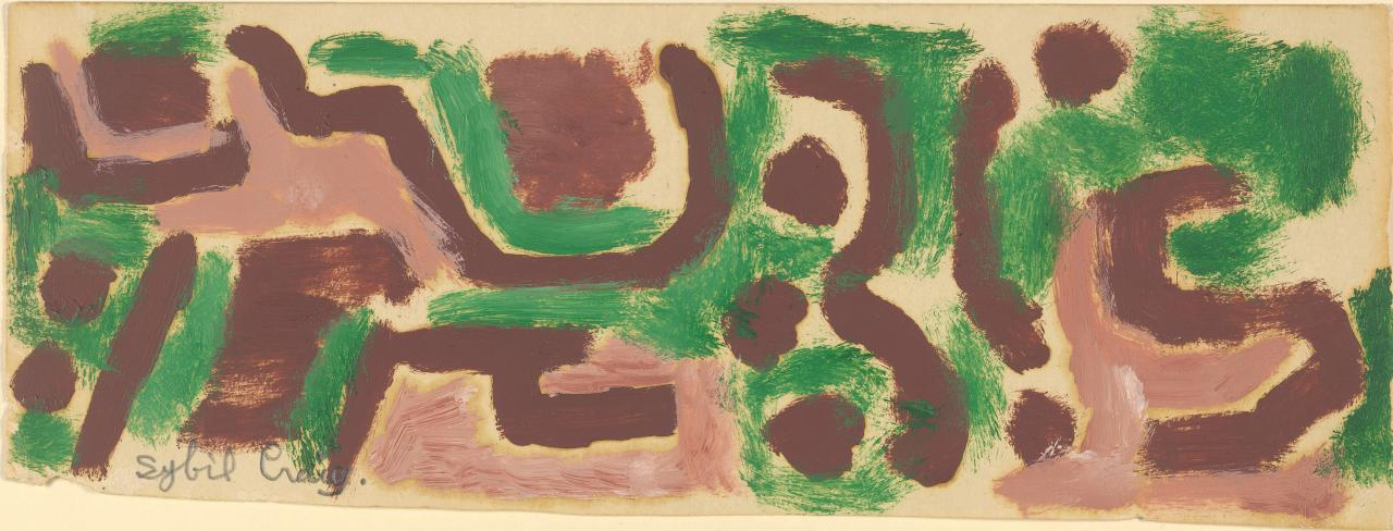 Abstract design in green, brown and pink