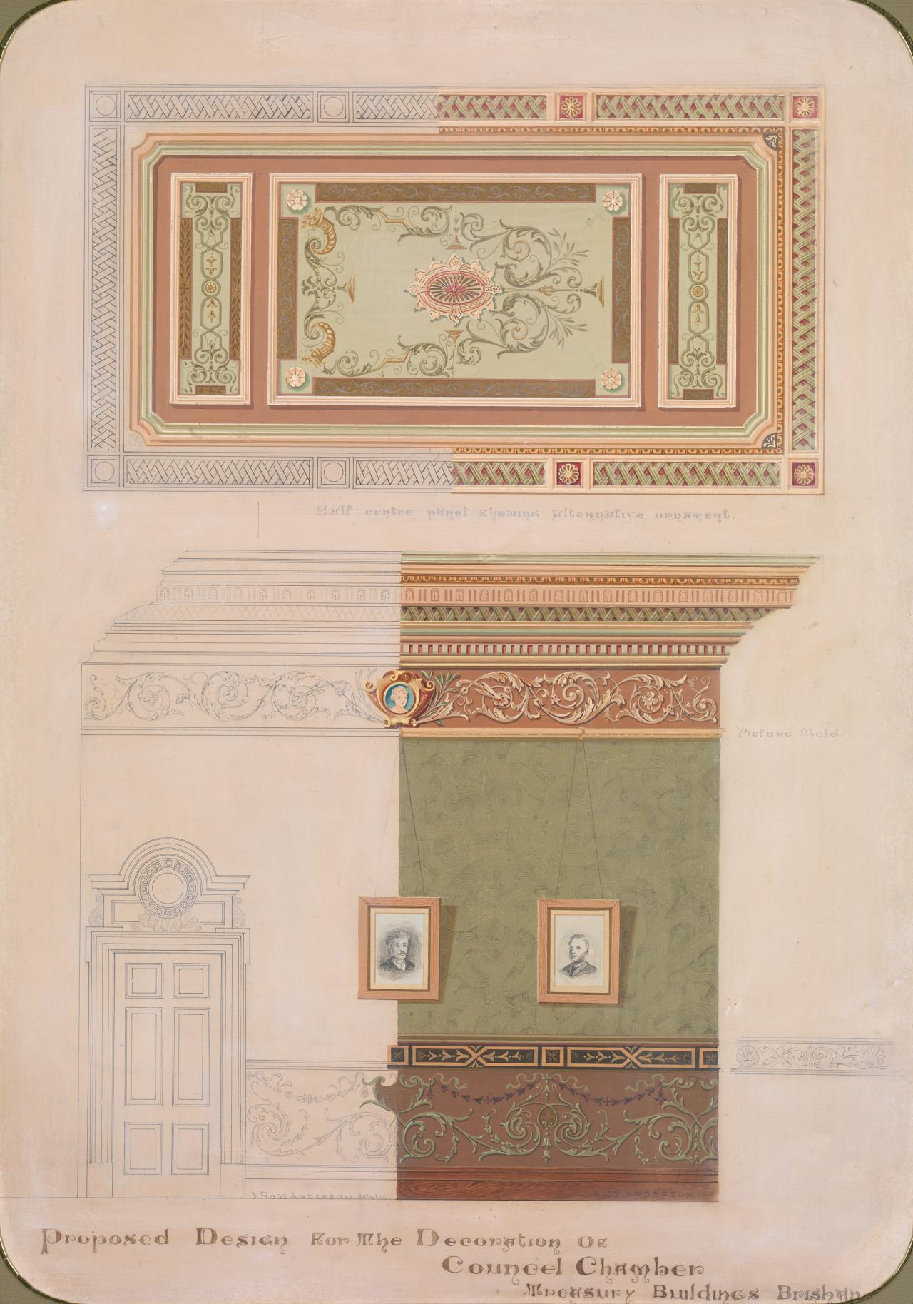 Proposed designs for the decoration of Council Chamber, Treasury Buildings, Brisbane