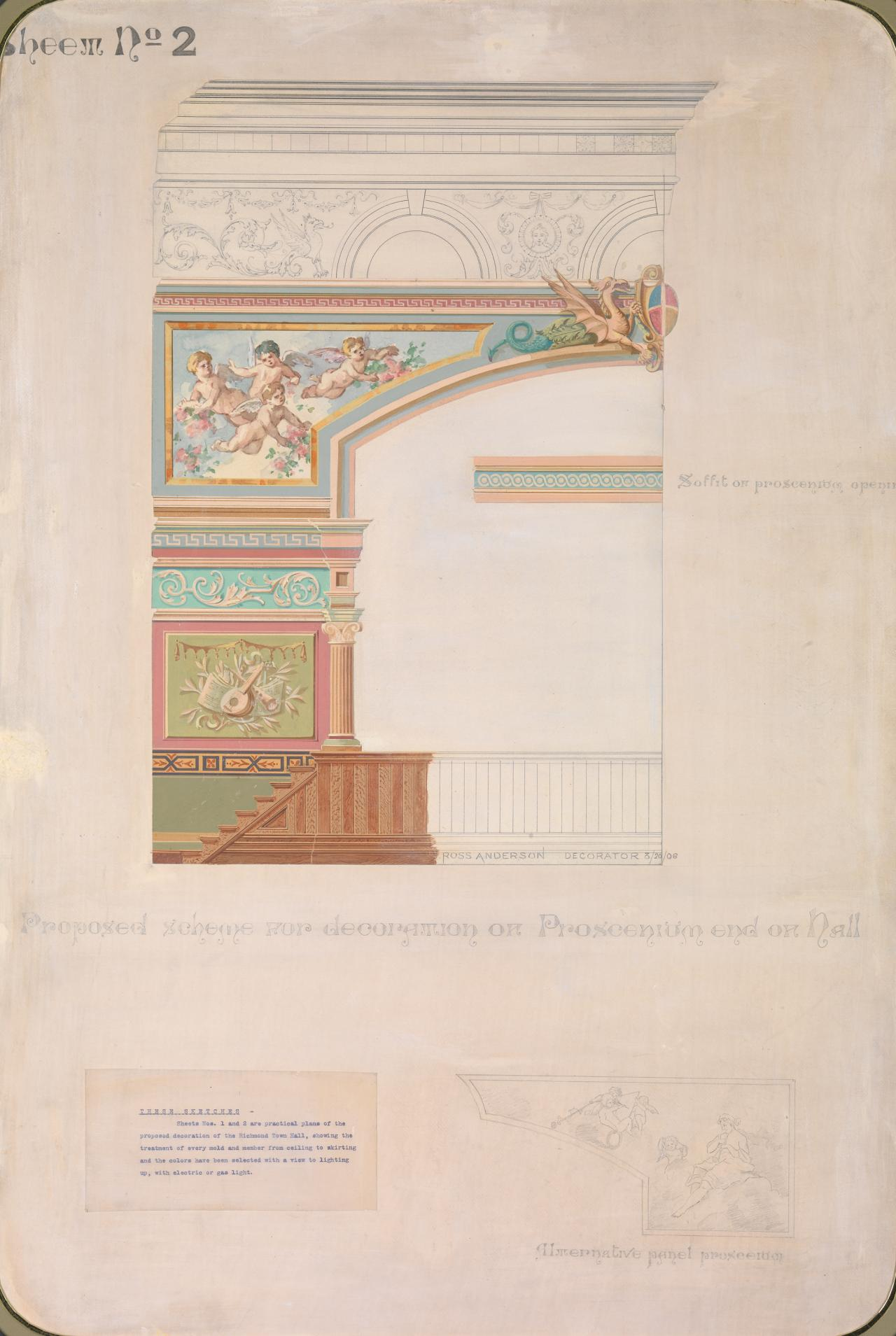 Proposed scheme for decoration of Proscenium end of hall, the Richmond Town Hall, sheet no. 2