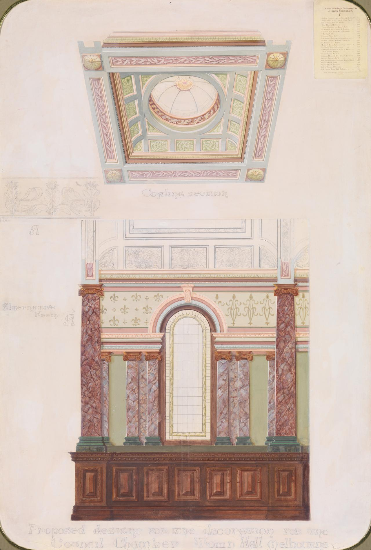 Proposed design for the decoration for the Council Chamber, Town Hall, Melbourne