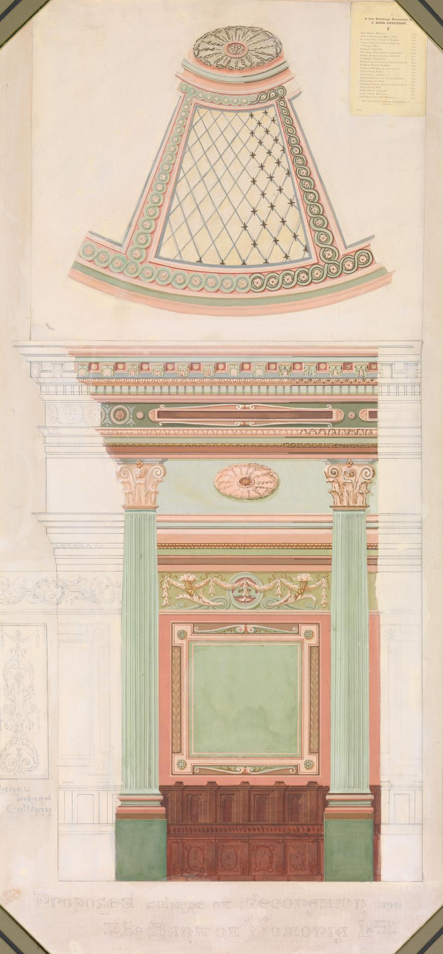 Proposed scheme of decoration for the Bank of Victoria Ltd