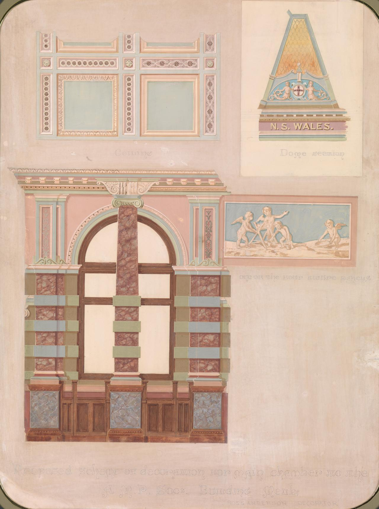 Proposed scheme of decoration for main chamber to the A.M.P. Society's building, Melbourne