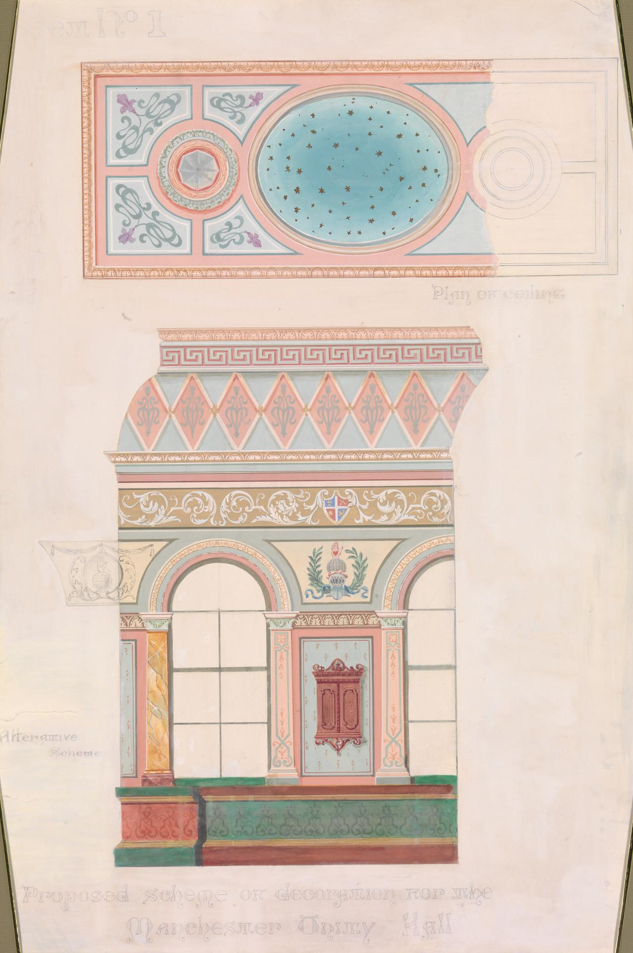 Proposed scheme of decoration for the Manchester Unity Hall, sheet no. 1