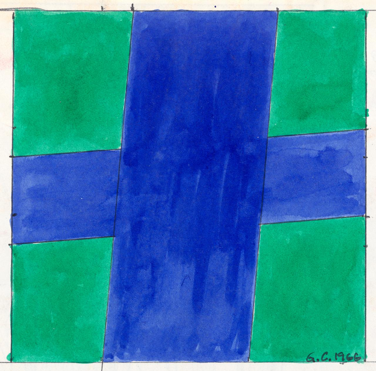 Untitled (Blue cross on green ground)