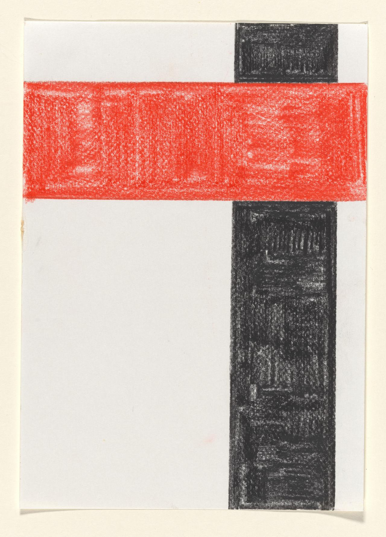 Untitled (Non-objective composition with red and black oblongs)