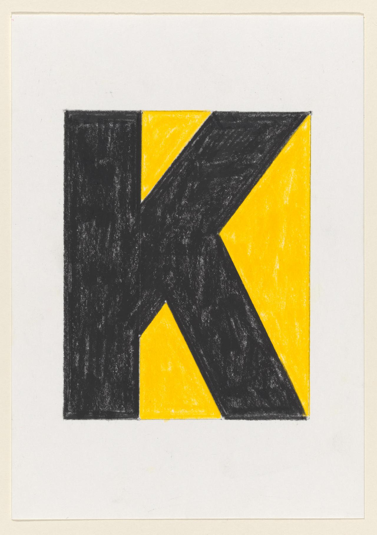 Untitled (K, or black oblongs against yellow ground)